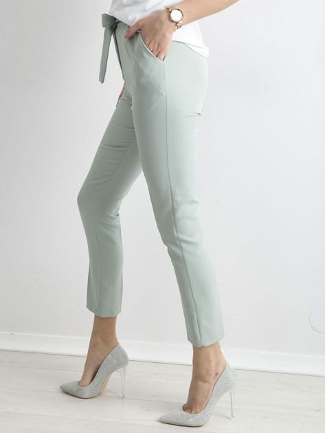 Miętowe spodnie z wiązaniem                               zdj.                              3