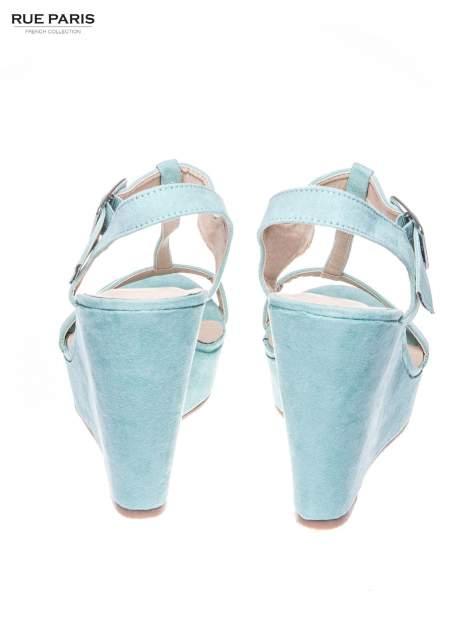 Miętowe zamszowe sandały t-bary na koturnie                                  zdj.                                  3