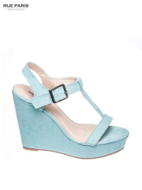 Miętowe zamszowe sandały t-bary na koturnie