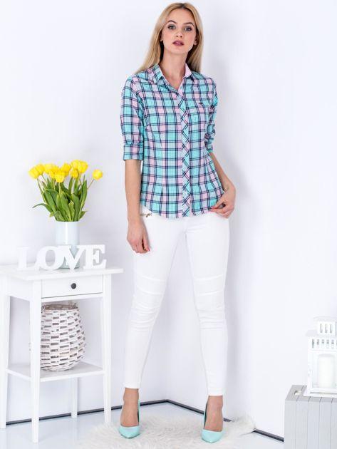 Miętowo-różowa koszula w kratkę                              zdj.                              4