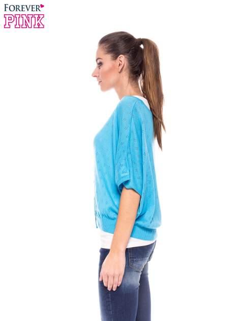 Miętowy ażurowy sweterek z krótkim rękawem                                  zdj.                                  3