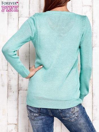Miętowy dzianinowy sweter z wiązaniem                                  zdj.                                  3