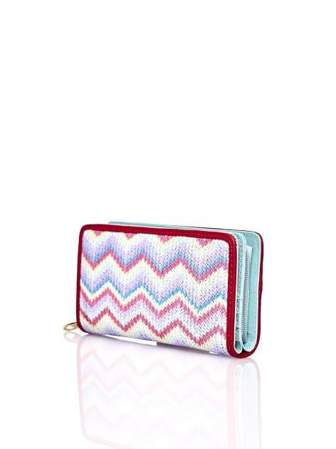 Miętowy pleciony portfel w geometryczne wzory                                  zdj.                                  2