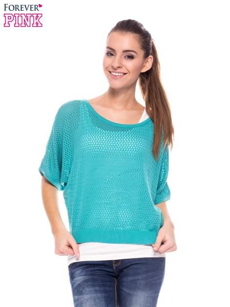 Miętowy siateczkowy sweter oversize                                  zdj.                                  1