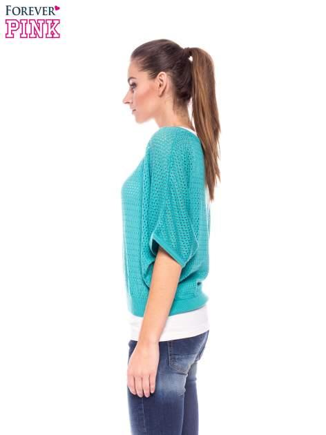 Miętowy siateczkowy sweter oversize                                  zdj.                                  2