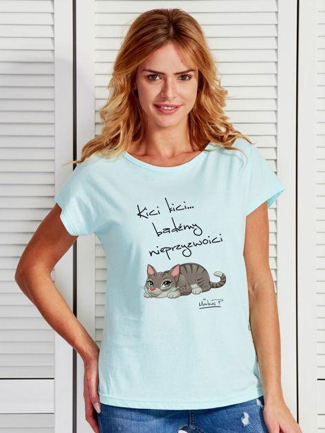Miętowy t-shirt damski BĄDŹMY NIEPRZYZWOICI by Markus P                                  zdj.                                  1
