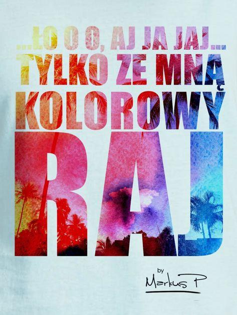 Miętowy t-shirt damski KOLOROWY RAJ by Markus P                              zdj.                              2