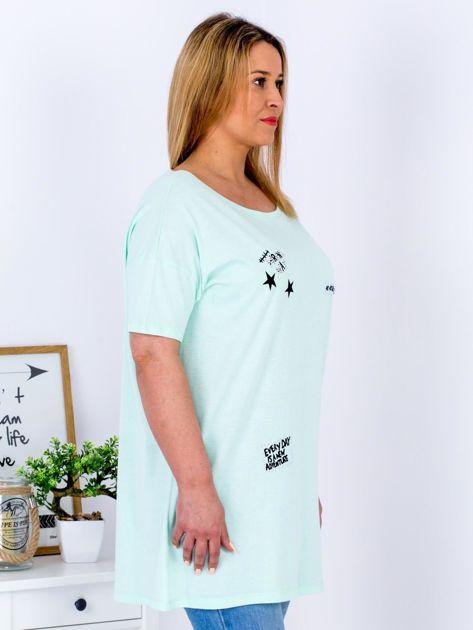 Miętowy t-shirt z aplikacją PLUS SIZE                                  zdj.                                  3