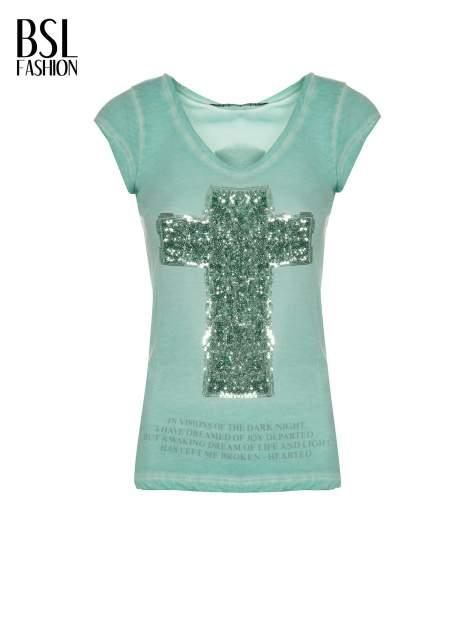 Miętowy t-shirt z cekinowym krzyżem                                  zdj.                                  2