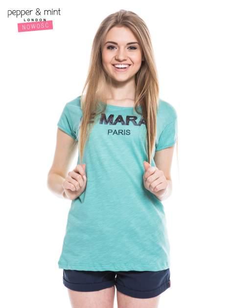 Miętowy t-shirt z nadrukiem LE MARAIS                                  zdj.                                  1