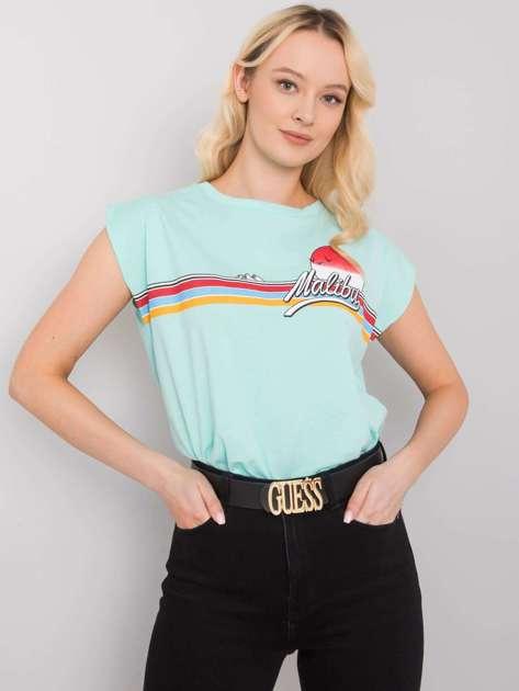 Miętowy t-shirt z nadrukiem Malibu
