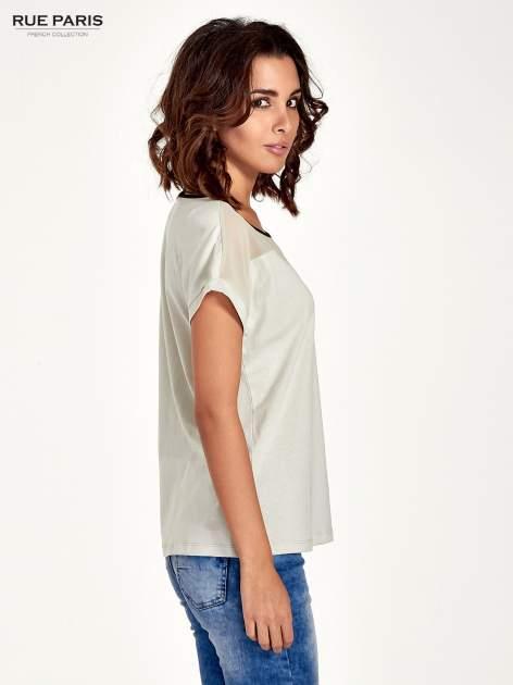 Miętowy t-shirt z siateczkową górą i kontrastową lamówką                                  zdj.                                  3