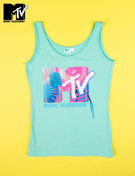 Miętowy top nadruk MTV