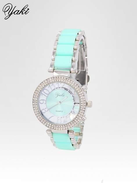 Miętowy zegarek na bransolecie z cyrkoniami na tarczy                                  zdj.                                  2