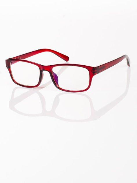 Modne czerwone okulary zerówki KUJONKI NERDY; soczewki ANTYREFLEKS+system FLEX na zausznikach                              zdj.                              3