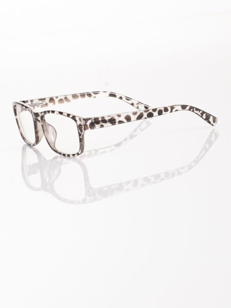 Modne okulary zerówki leopard KUJONKI NERDY; soczewki ANTYREFLEKS+system FLEX na zausznikach                              zdj.                              2