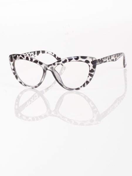 Modne okulary zerówki leopard typu KOCIE OCZY w stylu Marlin Monroe;soczewki ANTYREFLEKS+system FLEX na zausznikach                              zdj.                              1