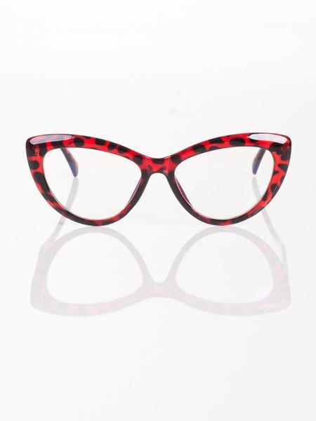 Modne okulary zerówki typu KOCIE OCZY w stylu Marlin Monroe; soczewki ANTYREFLEKS+system FLEX na zausznikach                                  zdj.                                  1