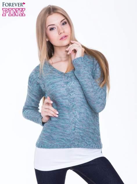 Morski sweter z warkoczowym splotem z przodu                                  zdj.                                  1