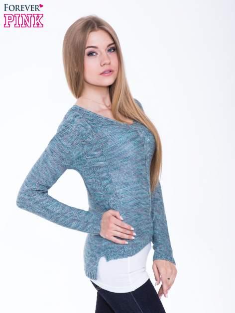 Morski sweter z warkoczowym splotem z przodu                                  zdj.                                  2