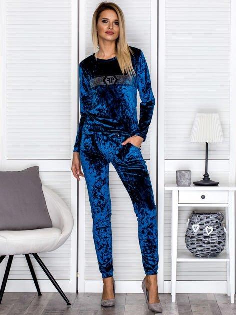 Morskie welurowe spodnie dresowe z troczkami                              zdj.                              4