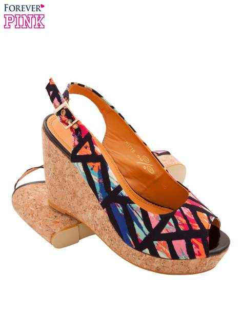 Multikolorowe sandały peep toe na koturnie korku                                  zdj.                                  4