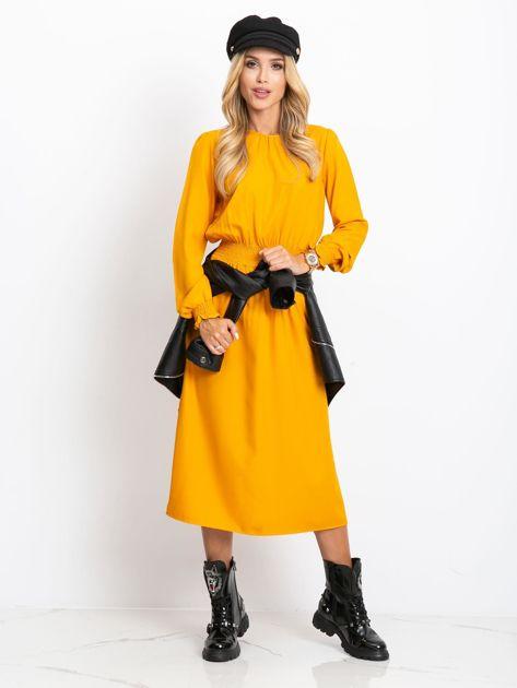 Musztardowa sukienka Saffire                              zdj.                              4