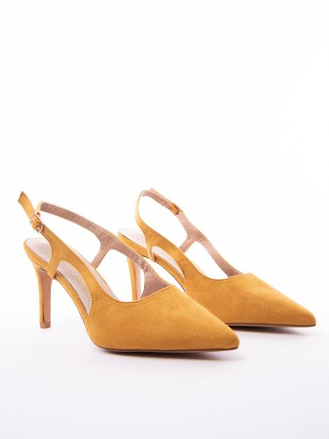 Musztardowe sandały Sabatina z noskiem w szpic bez pięty                              zdj.                              2