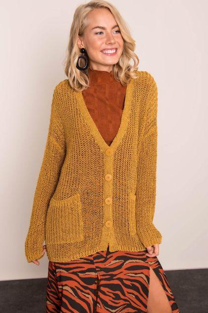 Musztardowy sweter damski BSL