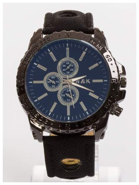 N&K Zegarek męski. Duża tarcza z ozdobnym tachometrem, opalizujące szkiełko oraz oryginalny pasek z wycięciami                                  zdj.                                  3