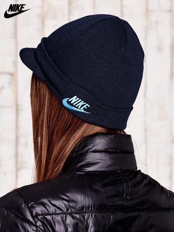 NIKE Granatowa dzianinowa czapka z daszkiem                                  zdj.                                  2