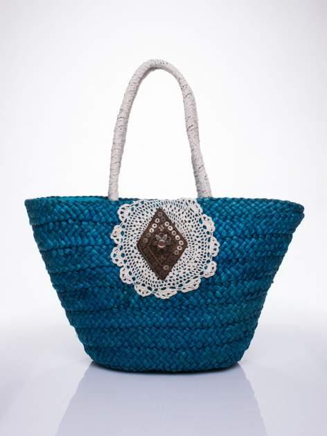 Niebiesk torba koszyk plażowy z haftem