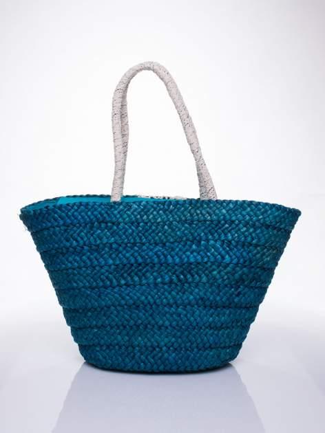 Niebiesk torba koszyk plażowy z haftem                                  zdj.                                  3