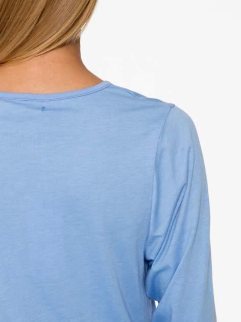Niebieska basicowa bluzka z rękawem 3/4                                  zdj.                                  8
