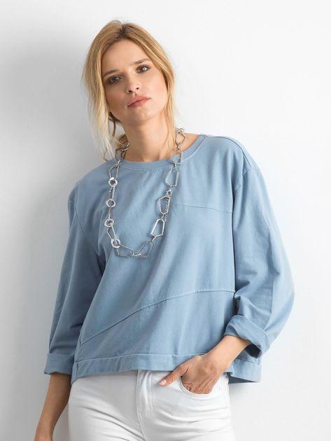 Niebieska bawełniana bluza oversize                              zdj.                              1