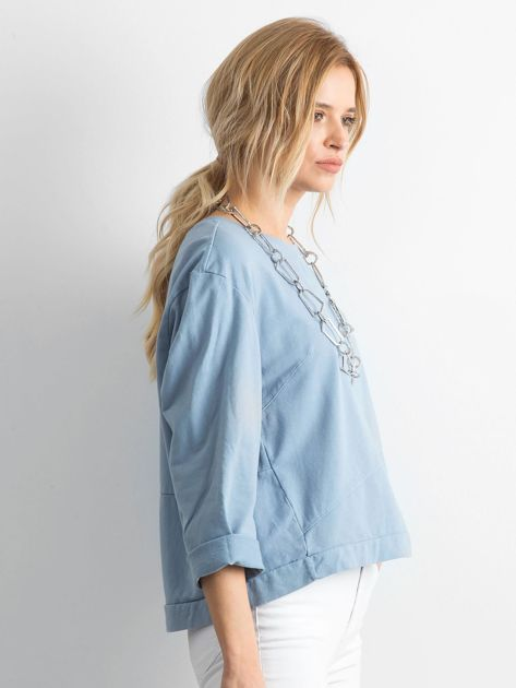 Niebieska bawełniana bluza oversize                              zdj.                              3