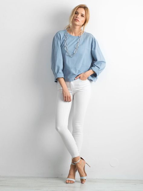 Niebieska bawełniana bluza oversize                              zdj.                              4