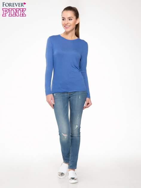 Niebieska bawełniana bluzka typu basic z długim rękawem                                  zdj.                                  2