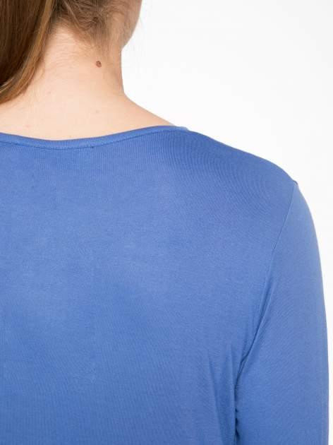 Niebieska bawełniana bluzka typu basic z długim rękawem                                  zdj.                                  6