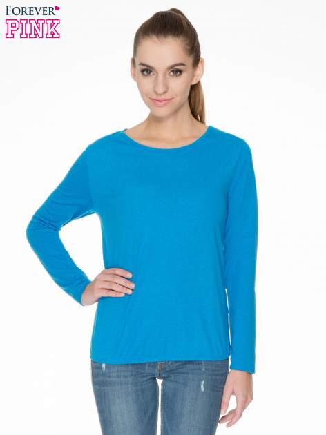 Niebieska bawełniana bluzka z gumką na dole                                  zdj.                                  1