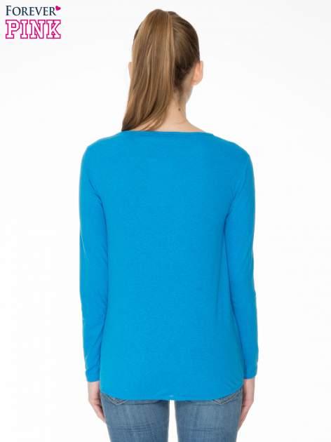 Niebieska bawełniana bluzka z gumką na dole                                  zdj.                                  4