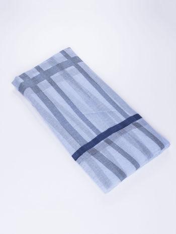 Niebieska bawełniana chustka z frędzelkami                                  zdj.                                  2