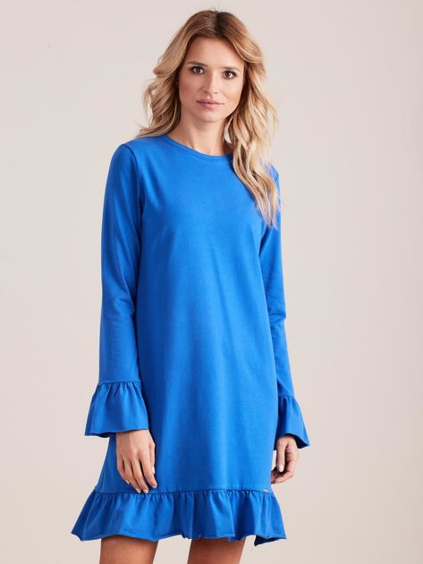 Niebieska bawełniana sukienka z falbanką                              zdj.                              1