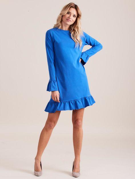 Niebieska bawełniana sukienka z falbanką                              zdj.                              4