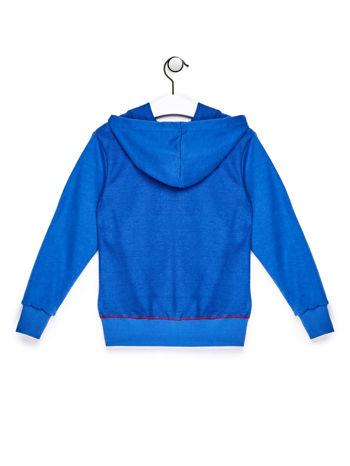 Niebieska bluza chłopięca z kapturem i nadrukami
