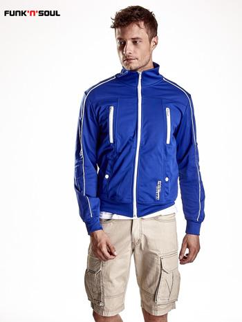 Niebieska bluza męska z kieszeniami na suwak Funk n Soul                                  zdj.                                  2