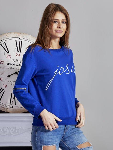 Niebieska bluza z napisem i suwakami                              zdj.                              5