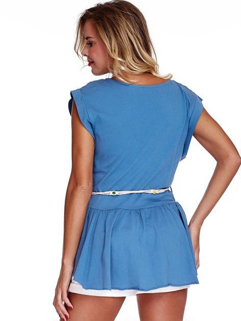 Niebieska bluzka boho z ozdobnym paskiem                              zdj.                              2