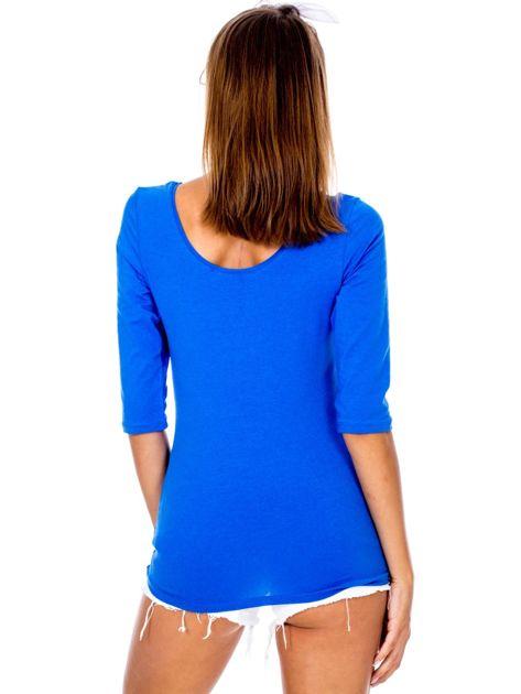 Niebieska bluzka damska basic                              zdj.                              3