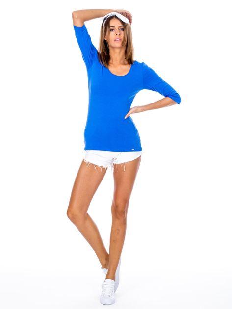 Niebieska bluzka damska basic                              zdj.                              4